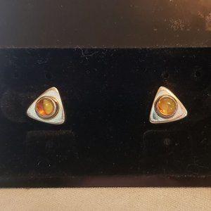 Vintage Sterling Amber Earrings Stud Post Triangle